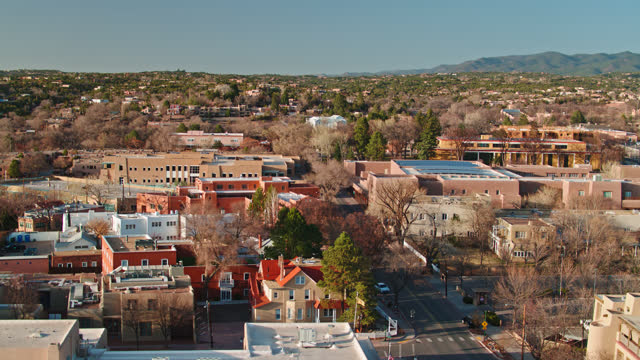 aerial of downtown santa fe - new mexico stock videos & royalty-free footage