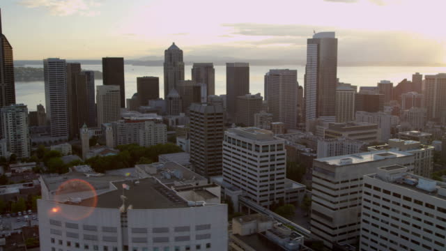 aerial of downtown seattle city usa - puget sound stock videos & royalty-free footage