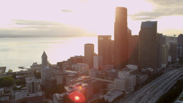 Aerial of downtown Seattle city USA