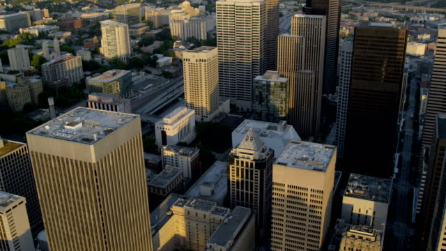 aerial of downtown seattle city usa - washington mutual tower stock videos & royalty-free footage