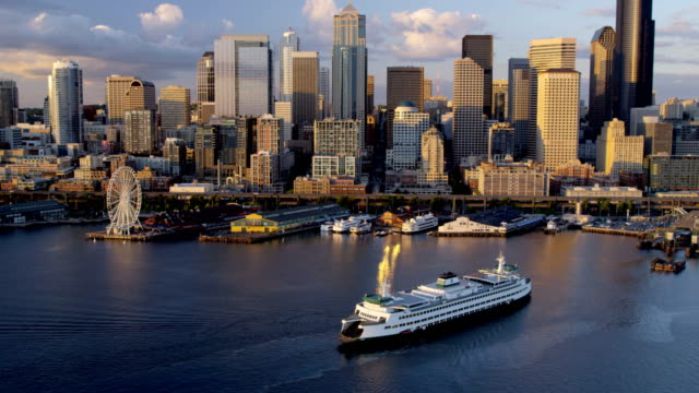 aerial of downtown seattle city usa - ferry stock videos & royalty-free footage