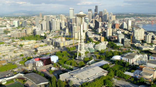 aerial of downtown seattle city usa - seattle stock-videos und b-roll-filmmaterial