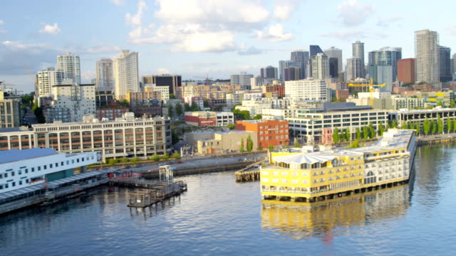 aerial of downtown seattle city usa - pike place market stock videos and b-roll footage