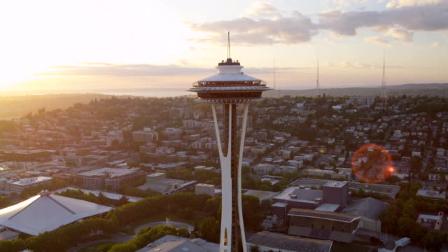 aerial of downtown seattle city usa - seattle stock videos & royalty-free footage