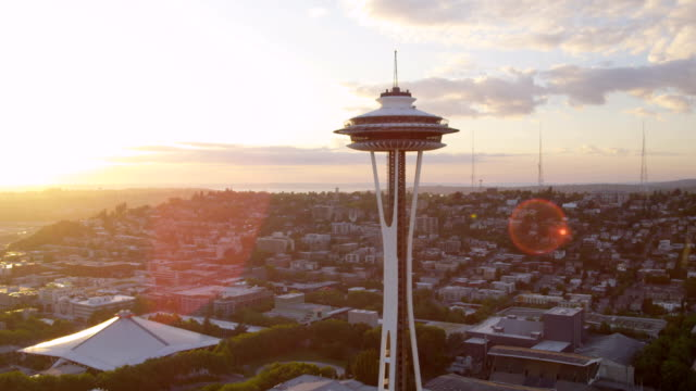 aerial of downtown seattle city usa - space needle stock videos & royalty-free footage