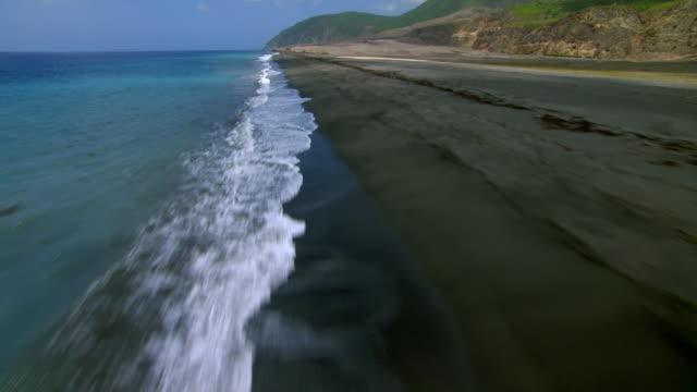 Aerial of Eastern beach of Montserrat Island in the Caribbean.