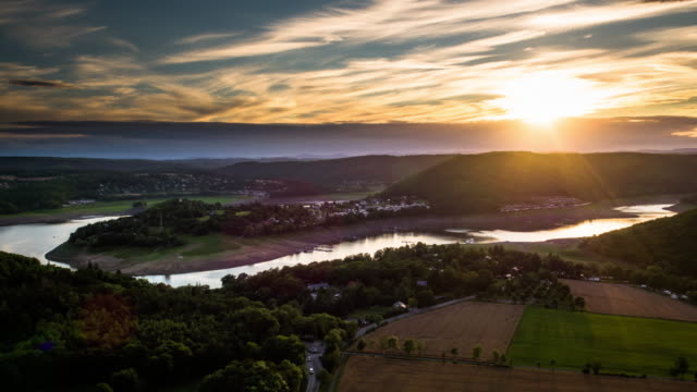 aerial of edersee reservoir lake in hesse, germany - reservoir stock videos and b-roll footage