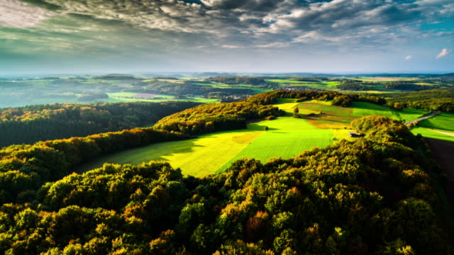 Aerial of Eifel mountain range in Germany