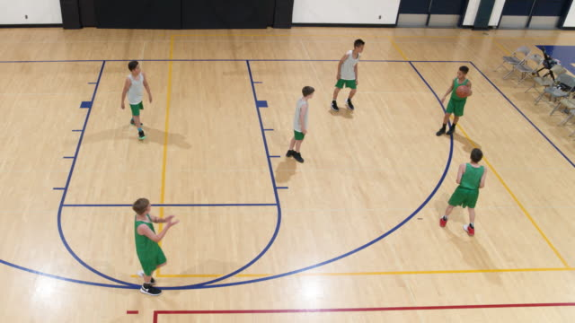 Aerial of elementary basketball scrimage