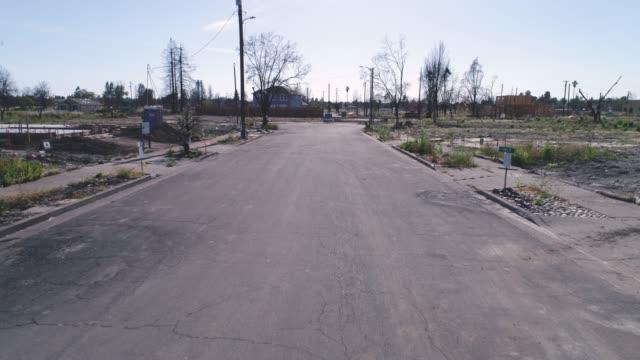 Aerial of empty street in Coffey Park, Santa Rosa, California