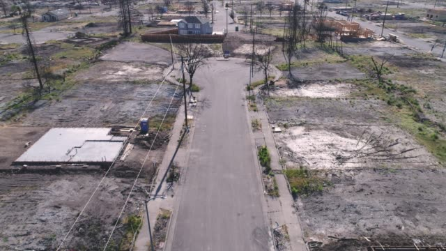 aerial of empty street in coffey park, santa rosa, california - destruction stock videos & royalty-free footage