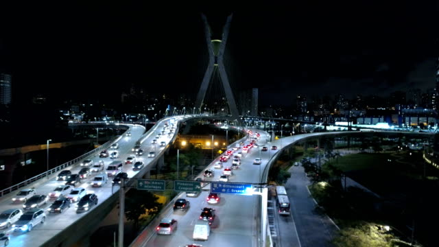 Aerial of Estaiada Bridge at night