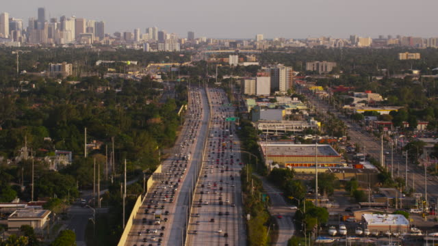 aerial of expressway 95 towards downtown miami fl, late afternoon - american interstate stock videos & royalty-free footage