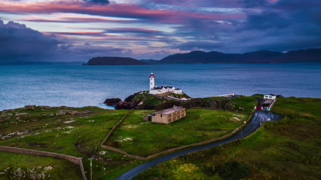 Aerial of Fanad Head Lighthouse, Donegall
