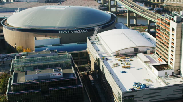 aerial of first niagara center in buffalo ny, daytime - buffalo new york state stock videos & royalty-free footage