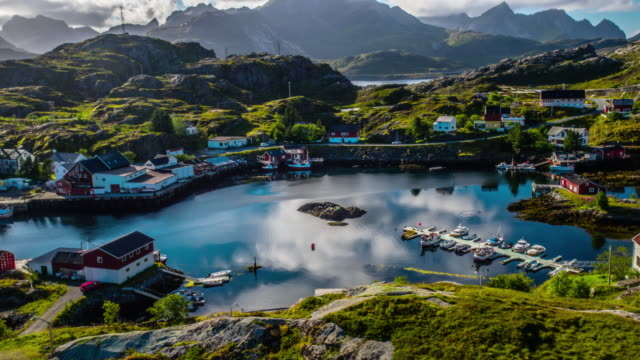 aerial of fishing village at the lofoten islands in norway - nordland county stock videos & royalty-free footage