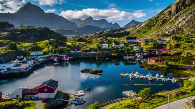 aerial of fishing village in norway - beautiful landscape - fishing village stock videos and b-roll footage