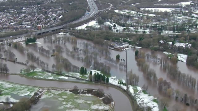 aerial of flooding in greater manchester due to heavy rain caused by storm christoph - extreme weather stock videos & royalty-free footage