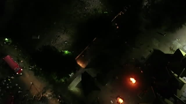 aerial of funeral pyres burning in nagpur, as the coronavirus pandemic worsens in india - crisis stock videos & royalty-free footage