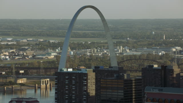 Aerial Of Gateway Arch In St Louis MO