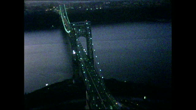 aerial of george washington bridge junction at dusk; 1972 - 1972 stock videos & royalty-free footage