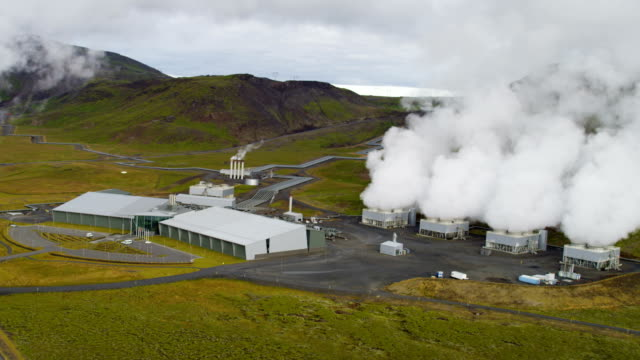 aerial of geothermal energy iceland - tank stock videos & royalty-free footage