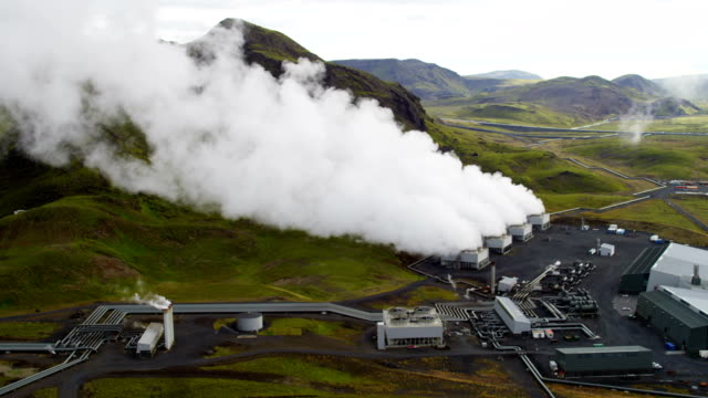 aerial of geothermal energy iceland - economy stock videos and b-roll footage