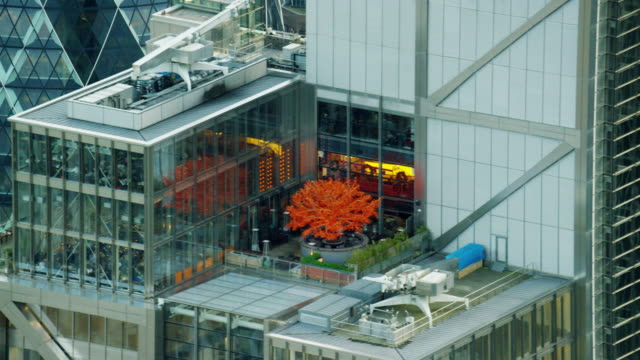 aerial of gherkin building and city roof garden - city of london stock videos & royalty-free footage