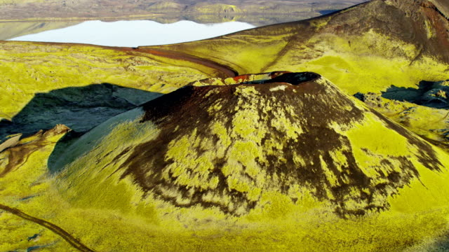 vidéos et rushes de aerial of glacial geothermal landscape in iceland - islande