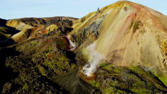 Aerial of Glacial Geothermal landscape in Iceland