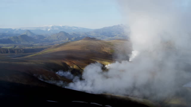 aerial of glacial geothermal landscape in iceland - extinct stock videos and b-roll footage