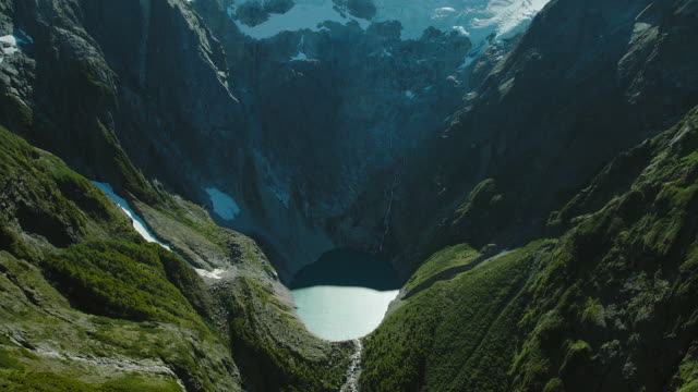 Aerial Of Glacier And Pool In Patagonia