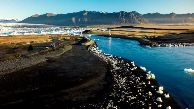 Antenn av glaciärlagunen Jökulsárlón Island