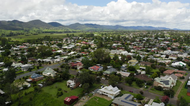 aerial of gloucester in australia - town stock videos & royalty-free footage