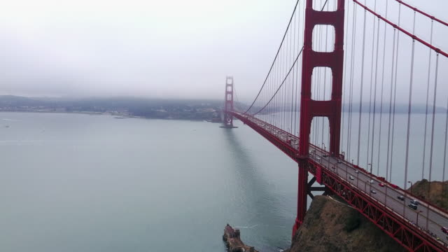 vídeos de stock, filmes e b-roll de aerial of golden gate bridge and bay - golden gate bridge