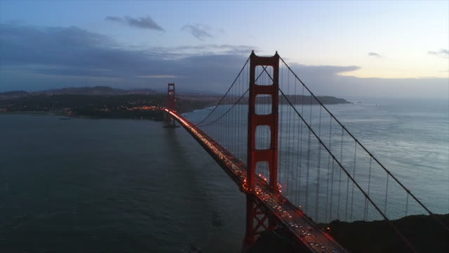 Aerial of Golden Gate Bridge at Sunset HD Stock Footage