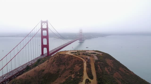 vídeos de stock, filmes e b-roll de aerial of golden gate bridge - golden gate bridge