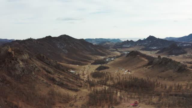 aerial of gorkhi terelj national park in mongolia. - mongolia video stock e b–roll