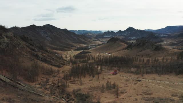 aerial of gorkhi terelj national park in mongolia. - mongolei stock-videos und b-roll-filmmaterial