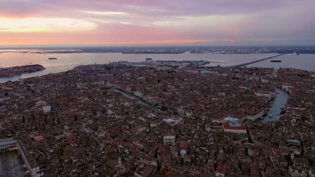 Aerial of Grand Canal and St Mark's square at sunset, Venice