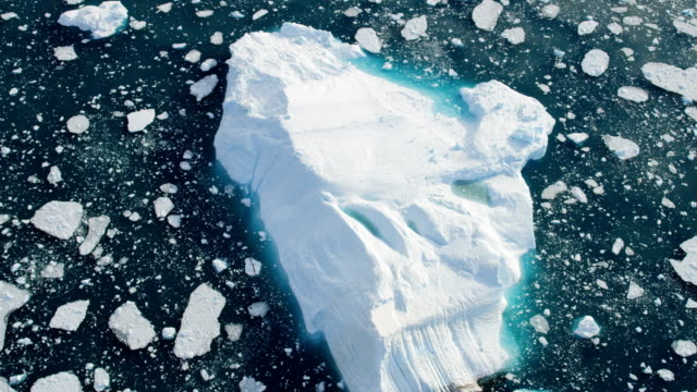 aerial of greenland arctic glacier and icebergs - climate research stock videos & royalty-free footage