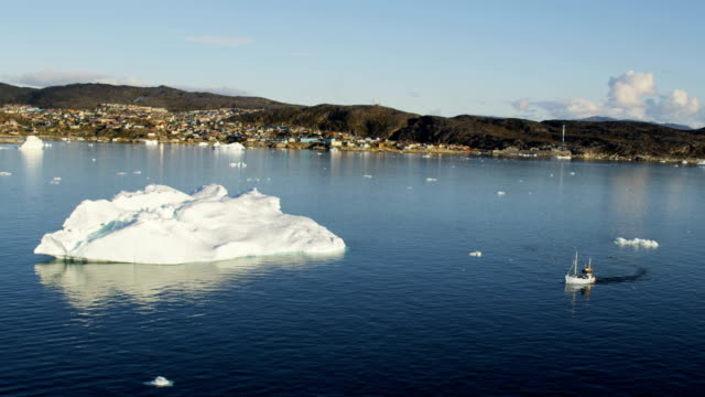 aerial of greenland arctic glacier and icebergs - frozen water stock videos & royalty-free footage
