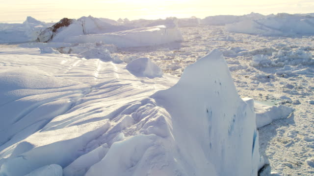 aerial of greenland arctic glacier and icebergs - 氷山点の映像素材/bロール