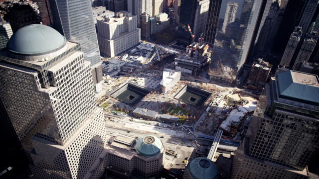 aerial of ground zero - september 11 2001 attacks stock videos and b-roll footage