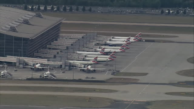 aerial of grounded british airways planes at heathrow airport as ba pilots strike over pay and conditions - pilot stock videos & royalty-free footage
