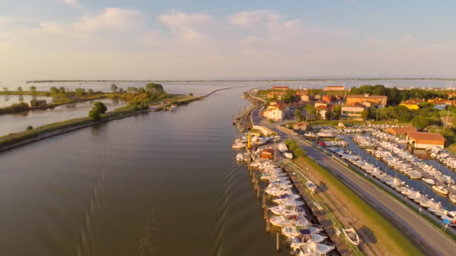 ws aerial of harbour in river mouth at adriatic sea - adriatic sea stock videos & royalty-free footage