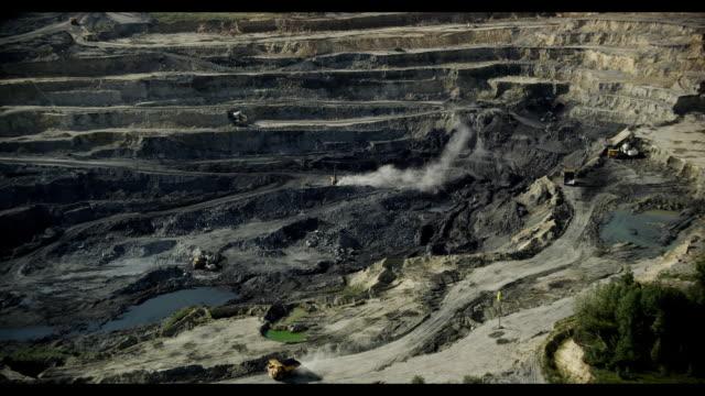 aerial of hard-coal mining. novosibirsk region, siberia, russia - quarry stock videos & royalty-free footage