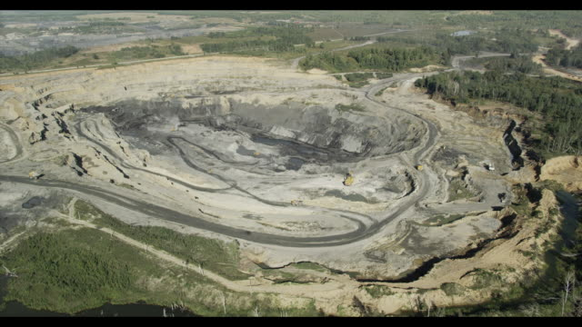 aerial of hard-coal mining. novosibirsk region, siberia, russia - quarry stock videos and b-roll footage