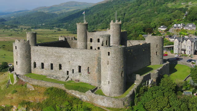 aerial of harlech castle, harlech, gwynedd, north wales - boundary stock videos & royalty-free footage