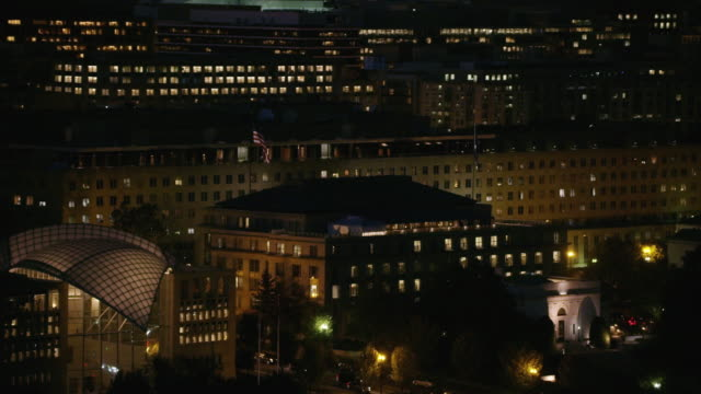 Aerial of Harry S. Truman Building, night Washington D.C.